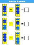 De jonge geitjes van telraamsoroban leren aantallen met telraam, wiskundeaantekenvel voor kinderen Vectorillustratie stock illustratie