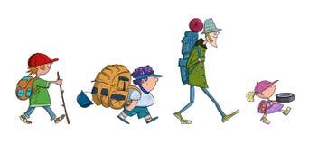 De jonge geitjesbeeldverhaal van Backpackingstoeristen Stock Foto's