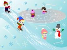 De jonge geitjeswinter het spelen Schaatsen, het sledging, die met sneeuwman spelen vector illustratie