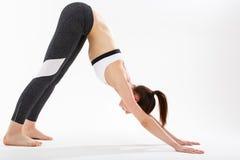 De jonge gesteunde yoga van de vrouwenoefening headstand Royalty-vrije Stock Foto's
