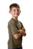 De jonge gevouwen wapens van het jongensportret royalty-vrije stock foto's