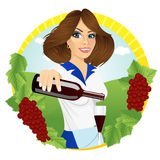 De jonge glimlachende serveerster giet rode wijn vector illustratie