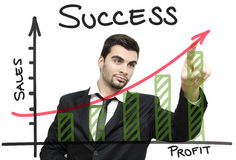De jonge grafiek van de zakenmanwinst stock afbeelding