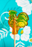 De jonge haan van de suikerlolly op een stok Stock Fotografie