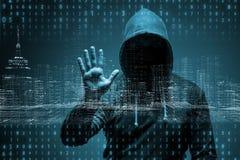 De jonge hakker in gegevensbeveiligingconcept royalty-vrije stock afbeeldingen