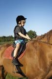 De jonge jongen berijdt een paard stock afbeeldingen