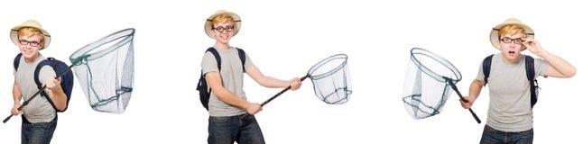 De jonge jongen in cork helm met netto royalty-vrije stock foto's