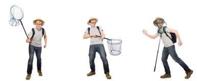 De jonge jongen in cork helm met netto royalty-vrije stock foto