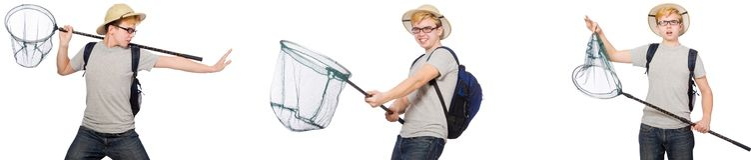 De jonge jongen in cork helm met netto royalty-vrije stock fotografie