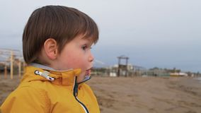 De jonge jongen op het strand is zeer opgewekt en verrast stock videobeelden