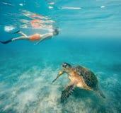 De jonge jongen snorkelt zwemt met groene zeeschildpad, Egypte stock foto
