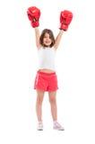 De jonge kampioen van het boksermeisje stock afbeeldingen