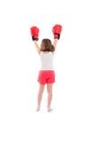 De jonge kampioen van het boksermeisje van erachter royalty-vrije stock fotografie