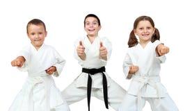 De jonge kinderen drukken verrukking van karatelessen uit royalty-vrije stock fotografie