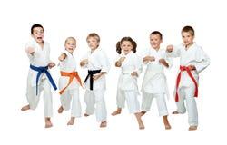 De jonge kinderen in kimono voeren techniekenkarate op een witte achtergrond uit Stock Foto's