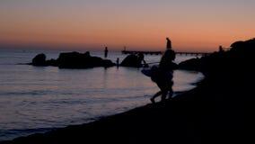 De jonge kinderen spelen op de rotsen op het strand door het overzees bij zonsondergang De kinderen spelen op het strand bij zons stock videobeelden
