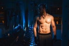 De jonge Knappe Brutale volwassen mens van bodybuilder sexy atletische hipster met grote spieren Royalty-vrije Stock Afbeelding