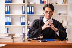 De jonge knappe rechter die voor het gerecht werken royalty-vrije stock foto's