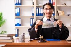 De jonge knappe rechter die voor het gerecht werken stock foto