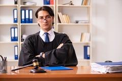 De jonge knappe rechter die voor het gerecht werken stock afbeeldingen