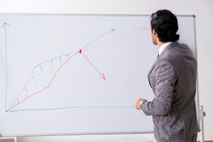 De jonge knappe zakenman voor whiteboard royalty-vrije stock afbeeldingen