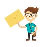De jonge koerier of de brievenbesteller leverde de brief U hebt een brievenconcept Vector vlak beeldverhaalkarakter Stock Foto