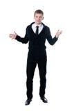 De jonge man in een zwarte cardigan Stock Fotografie