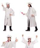 De jonge man klaar voor universitaire graduatie Stock Afbeeldingen