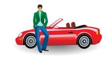 De jonge man, met een rode convertibele auto Stock Afbeeldingen