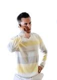 De jonge man met telefoon Stock Fotografie