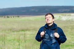 Jonge mens in openlucht Stock Foto
