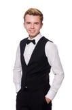 De jonge man in zwart klassiek vest Royalty-vrije Stock Foto's