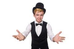 De jonge man in zwarte klassieke vest en hoed stock fotografie