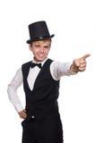 De jonge man in zwarte klassieke vest en hoed royalty-vrije stock foto