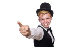 De jonge man in zwarte klassieke vest en hoed royalty-vrije stock fotografie