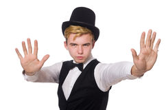De jonge man in zwarte klassieke vest en hoed royalty-vrije stock foto's