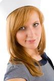 De jonge mariene hoed van de het portretzeeman van de vrouwenmanier Royalty-vrije Stock Afbeelding