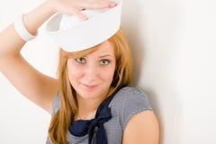 De jonge mariene hoed van de het portretzeeman van de vrouwenmanier Stock Afbeelding