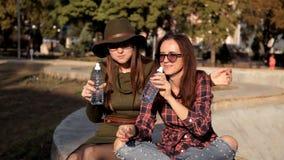 De jonge meisjes zitten in het park, zeggen zij, hebben pret en eten, eten een sandwich Pret, gelach, vakantie stock videobeelden