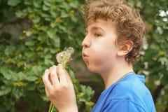 De jonge mens bevindt zich onder de bloemen en geniet van de zomer en het bloeien royalty-vrije stock afbeelding