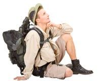 De jonge mens kleedde zich in een toerist stock afbeeldingen