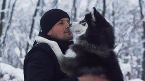 De jonge mens krast en strijkt een mooie Siberische schor beste vriend op de de winter sneeuwachtergrond Hond en eigenaar  stock videobeelden