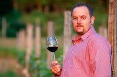 De jonge mens proeft rode wijn royalty-vrije stock foto