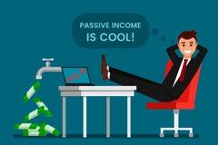De jonge mens rust en verheugt zich passief inkomen royalty-vrije illustratie