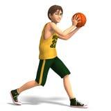 De jonge mens speelt basketbal Stock Afbeelding