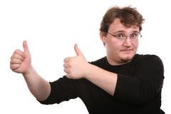 De jonge mens toont gebaren Royalty-vrije Stock Afbeeldingen