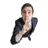 De jonge mens toont stil gebaar ben Mening van hierboven Geïsoleerdj op witte achtergrond Stock Afbeelding