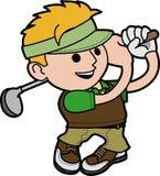 De jonge mens van de illustratie het golfing Stock Foto's