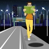 De jonge mens wordt geabsorbeerd in boek gaat naar gevaarlijk open onbeveiligd broedsel op weg royalty-vrije illustratie