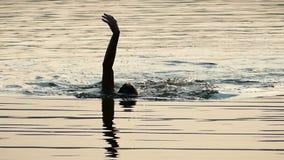 De jonge Mens zwemt Rugslag in de Fonkelende Wateren van de Zwarte Zee bij Zonsondergang in slo-Mo stock videobeelden